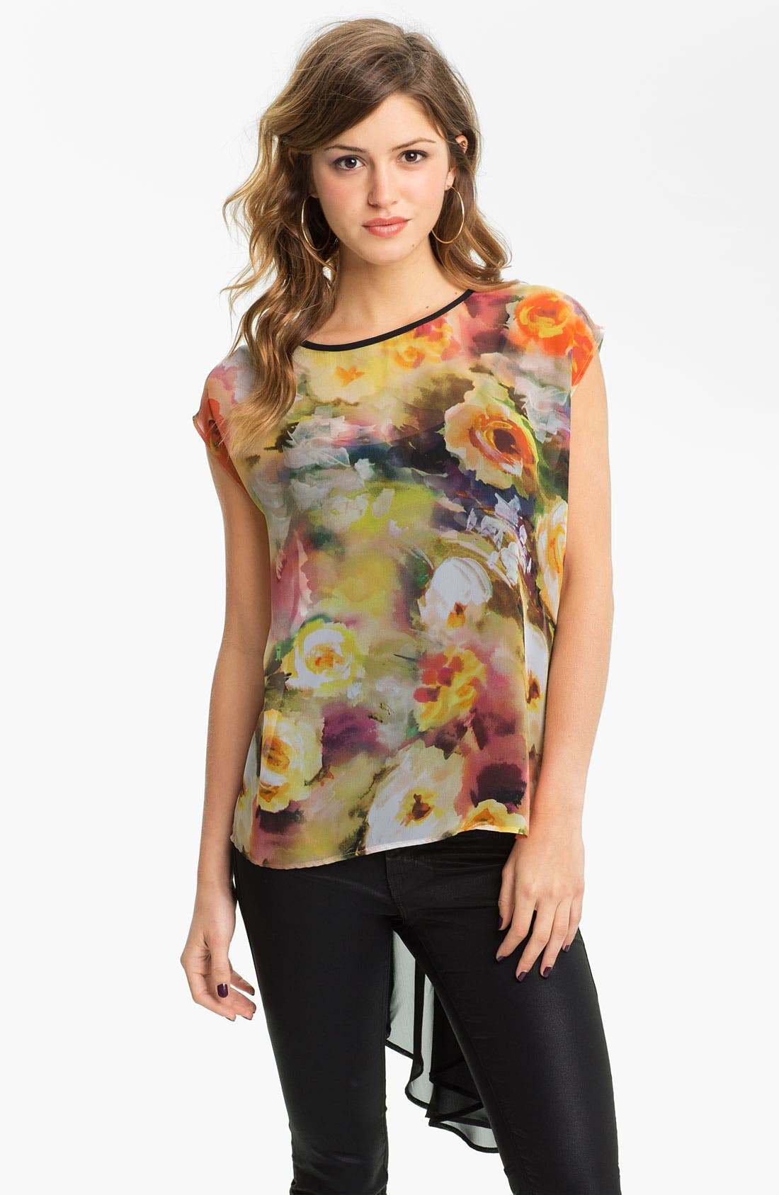 Main Image - Band of Gypsies Print Chiffon Fishtail Top (Juniors)