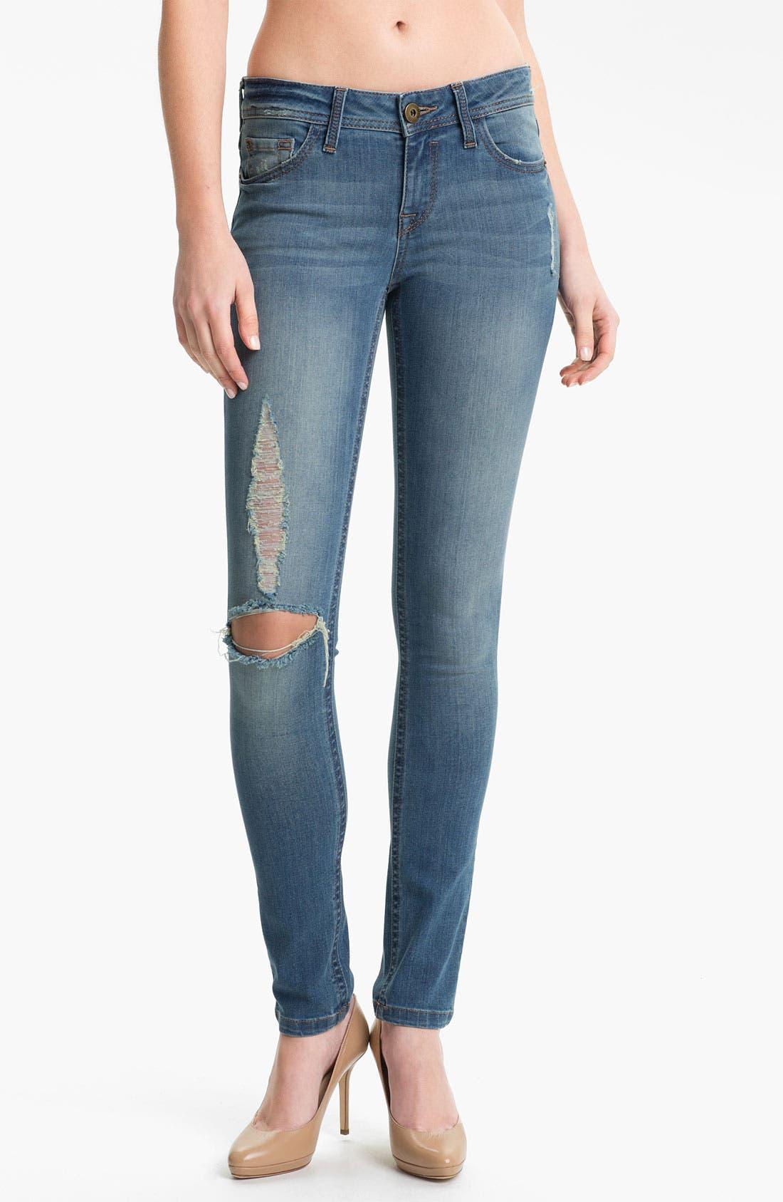 Main Image - DL1961 'Amanda' X-Fit Stretch Destroyed Denim Skinny Jeans (Mayhem)