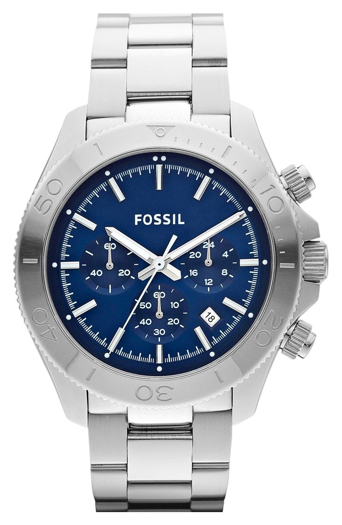 Alternate Image 1 Selected - Fossil 'Retro Traveler' Chronograph Bracelet Watch, 45mm