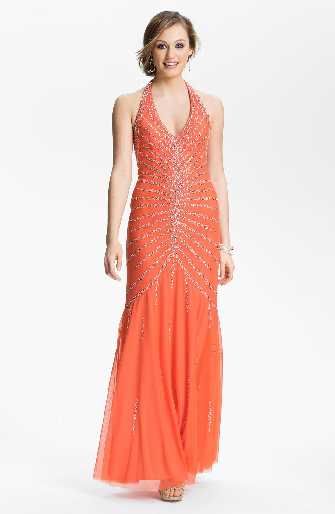 Main Image - Sean Collection Beaded Mesh Halter Gown