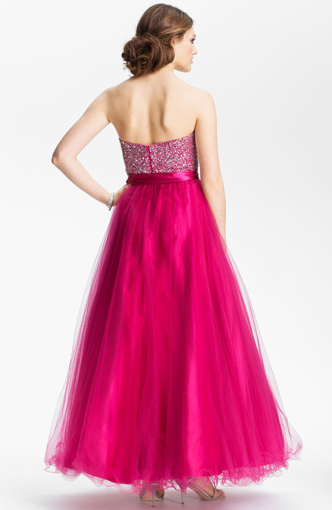 Embellished Tulle Ball Gown,                             Alternate thumbnail 2, color,                             Fuchsia