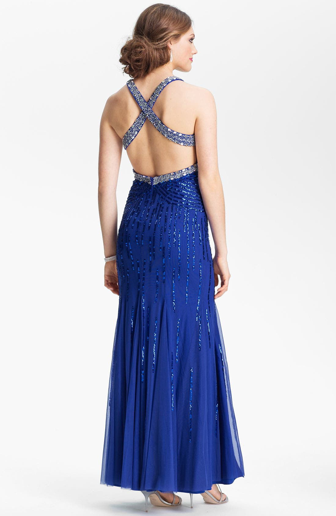 Alternate Image 2  - Sean Collection Embellished Mesh Trumpet Gown