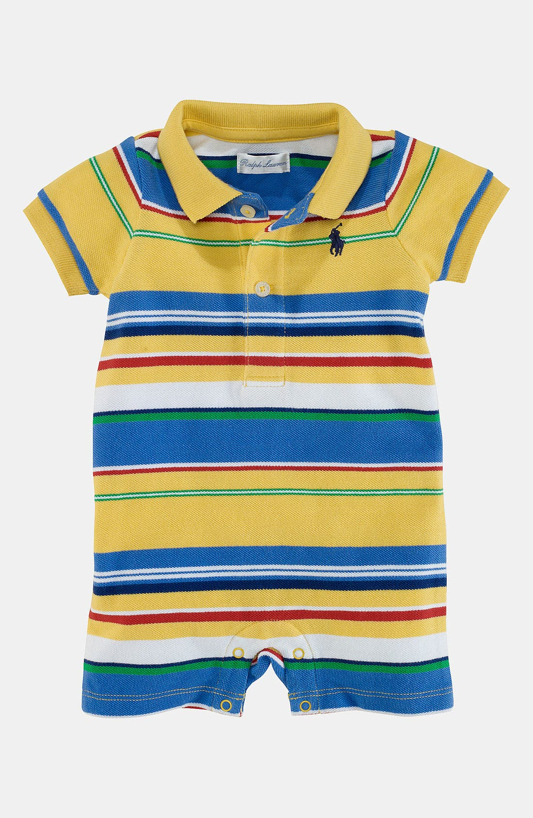 Alternate Image 1 Selected - Ralph Lauren Stripe Romper (Baby)