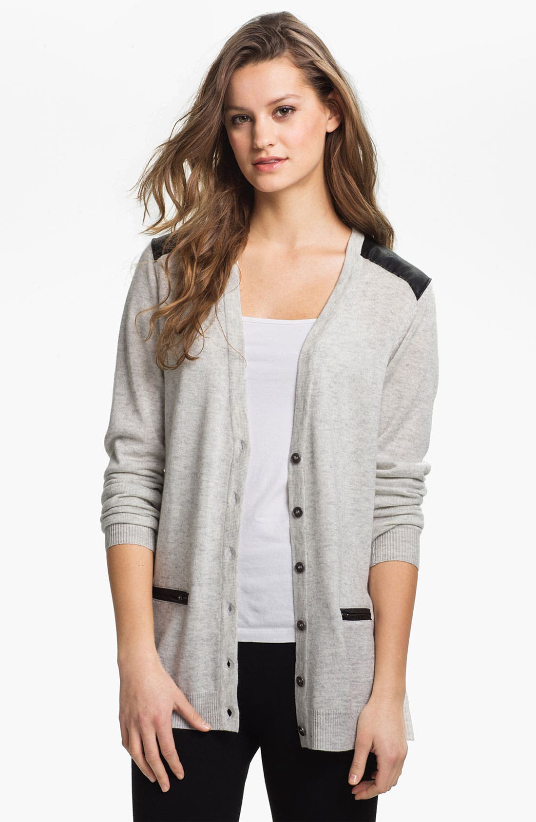 Alternate Image 1 Selected - Max & Mia Leather Trim Cardigan (Online Exclusive)