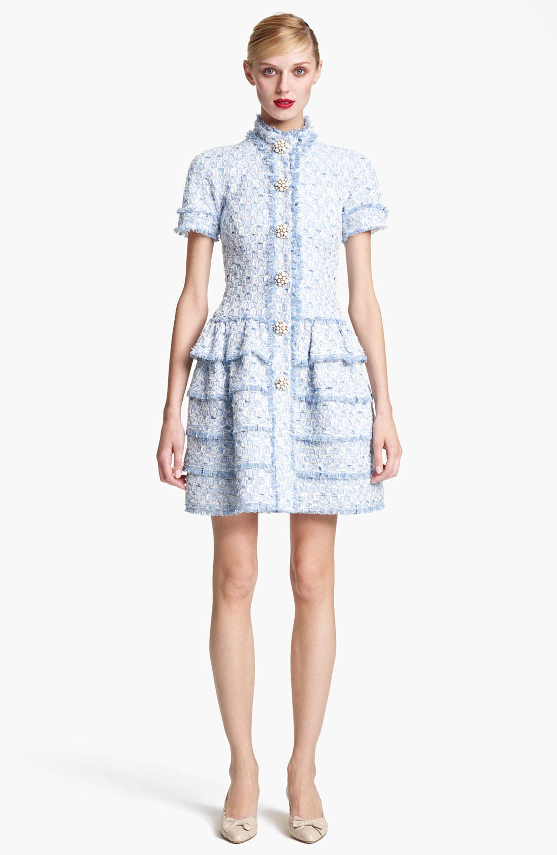 Main Image - Oscar de la Renta Tiered Tweed Dress