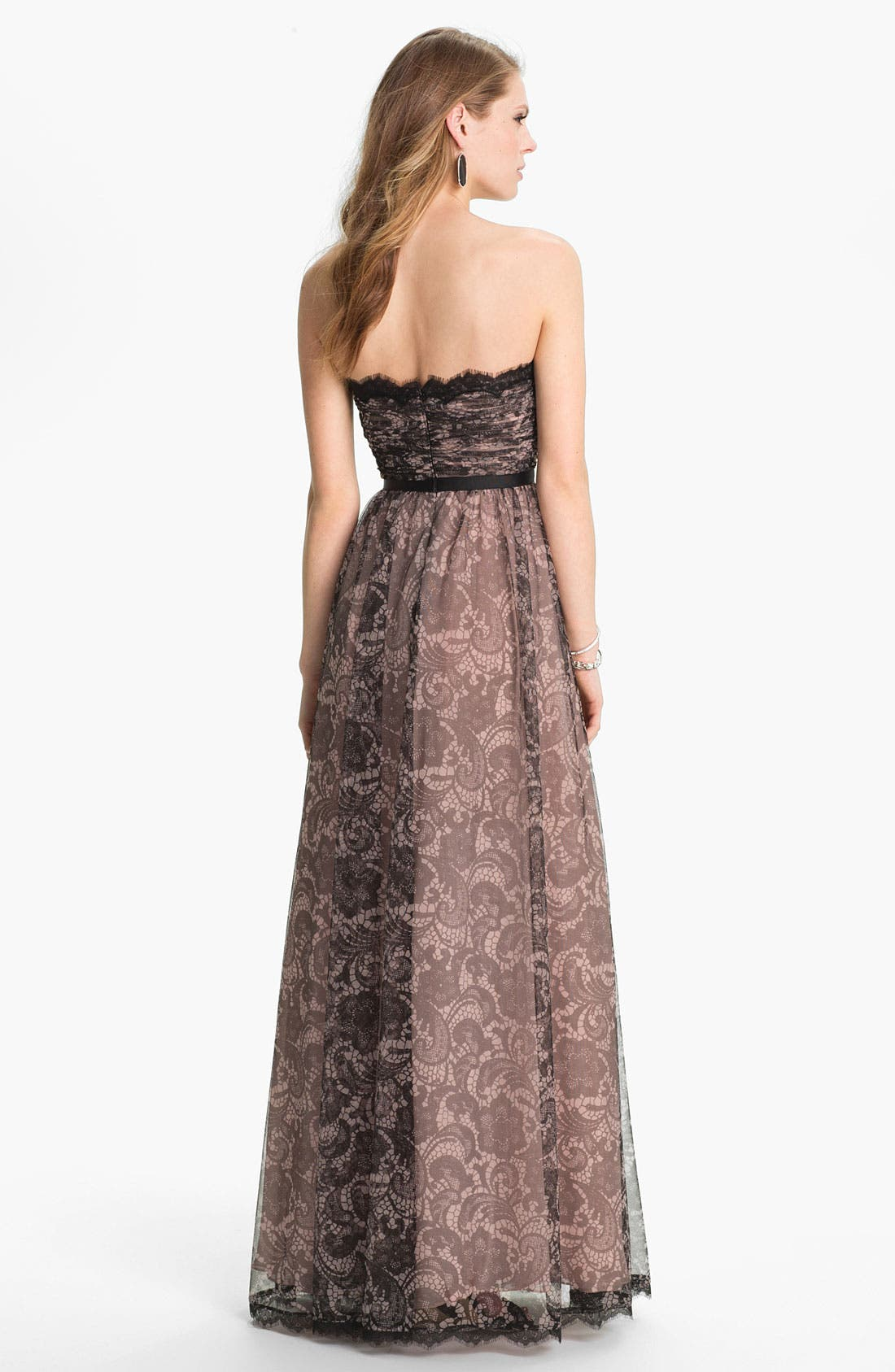 Alternate Image 2  - Adrianna Papell Lace Print Tulle Gown