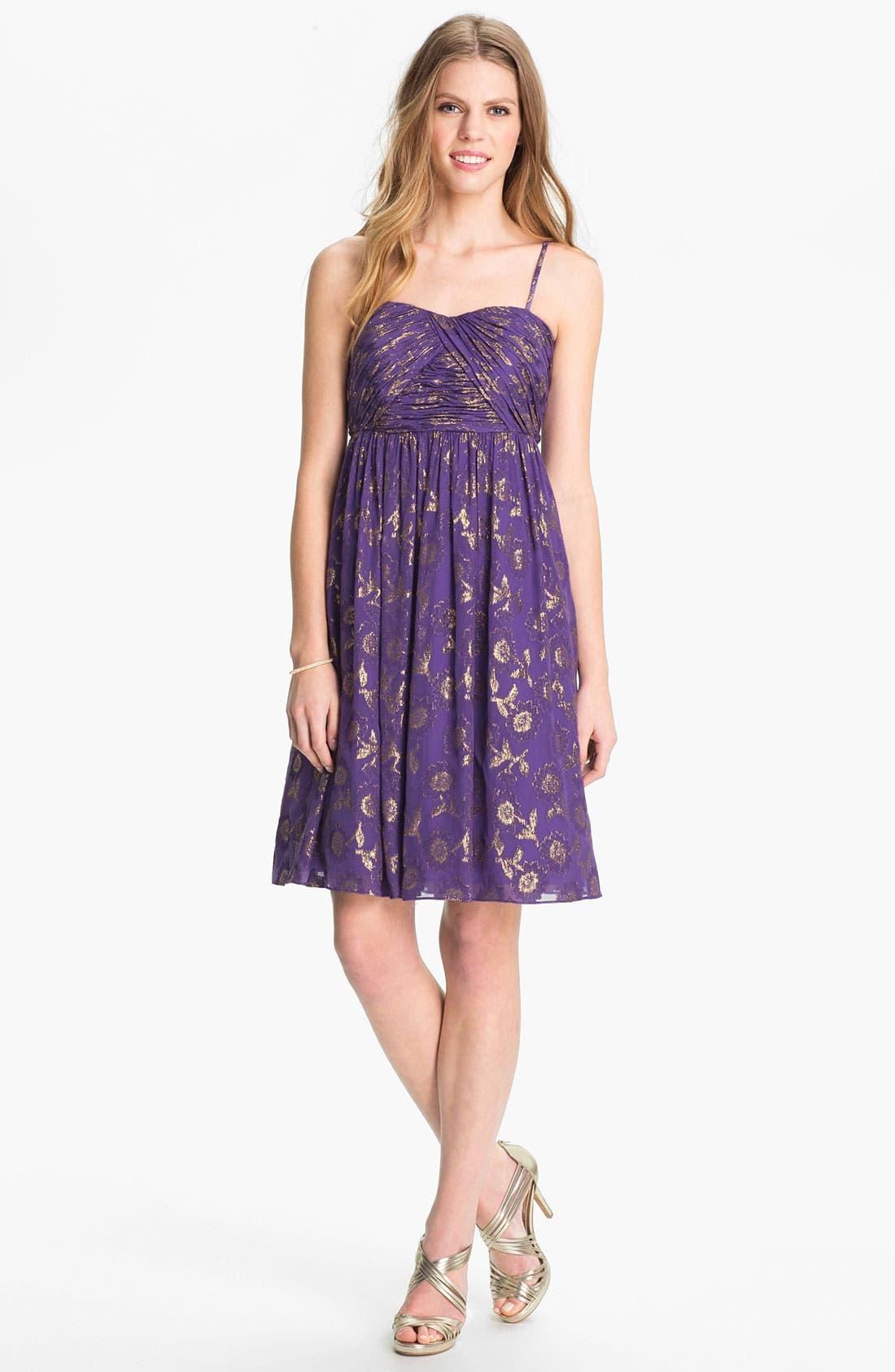 Alternate Image 1 Selected - Calvin Klein Metallic Print Chiffon Dress