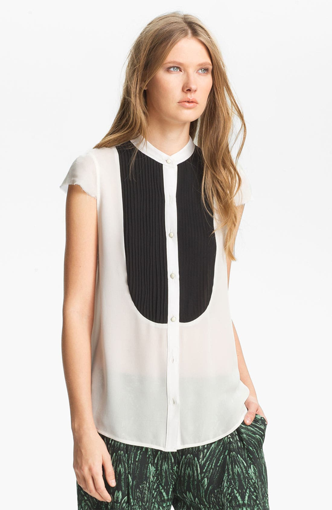 Main Image - Haute Hippie Pleated Bib Chiffon Blouse