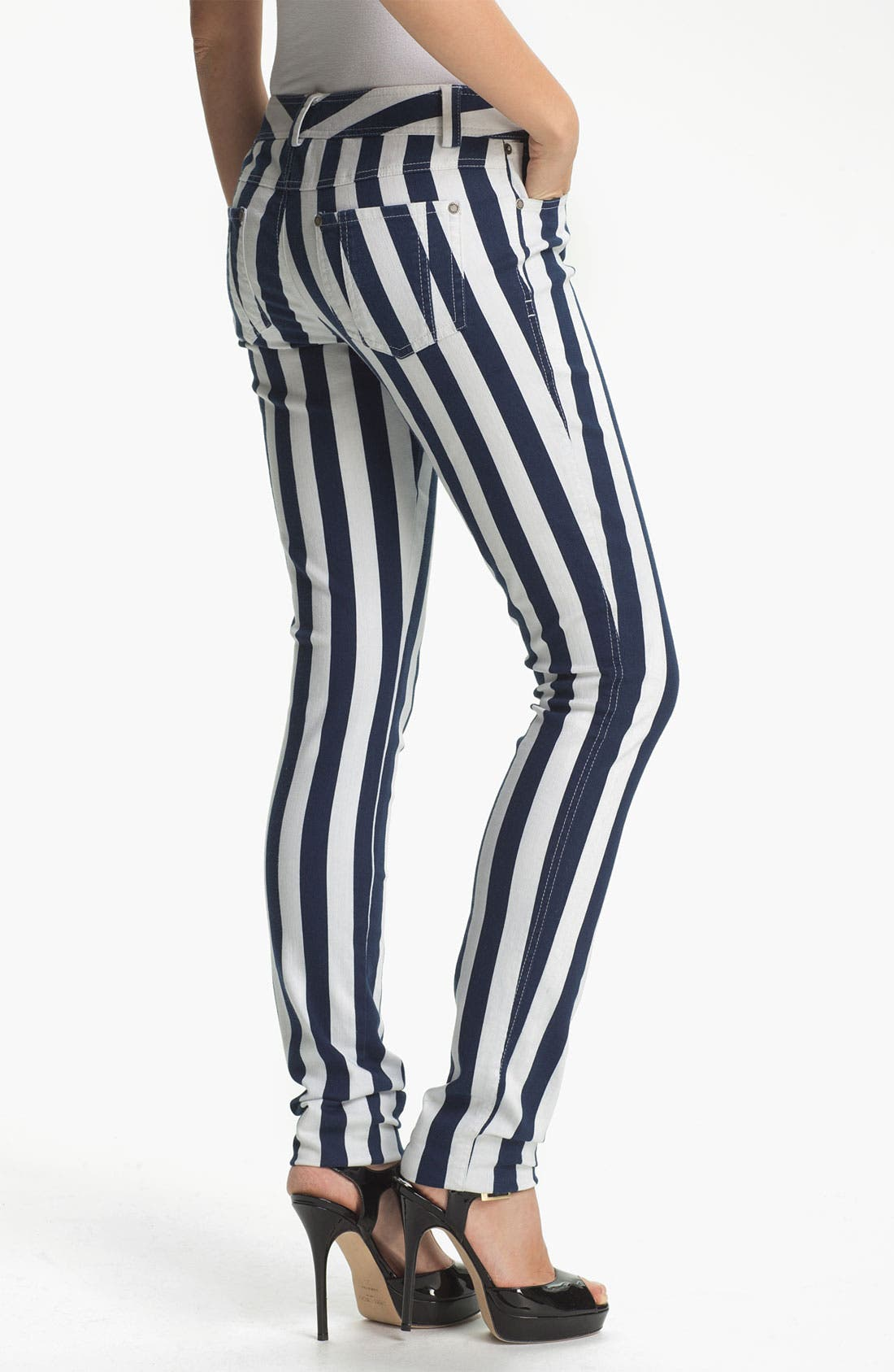 Alternate Image 2  - Alice + Olivia Stripe Skinny Jeans