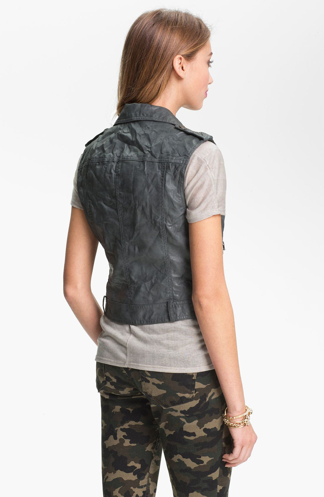Alternate Image 2  - Collection B Studded Faux Leather Biker Vest (Juniors)