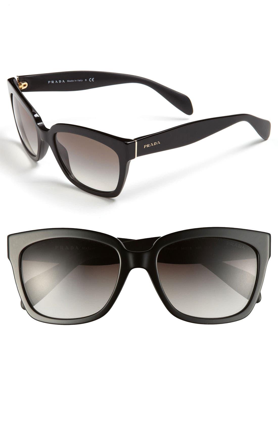 Timeless 56mm Square Sunglasses,                         Main,                         color, Black