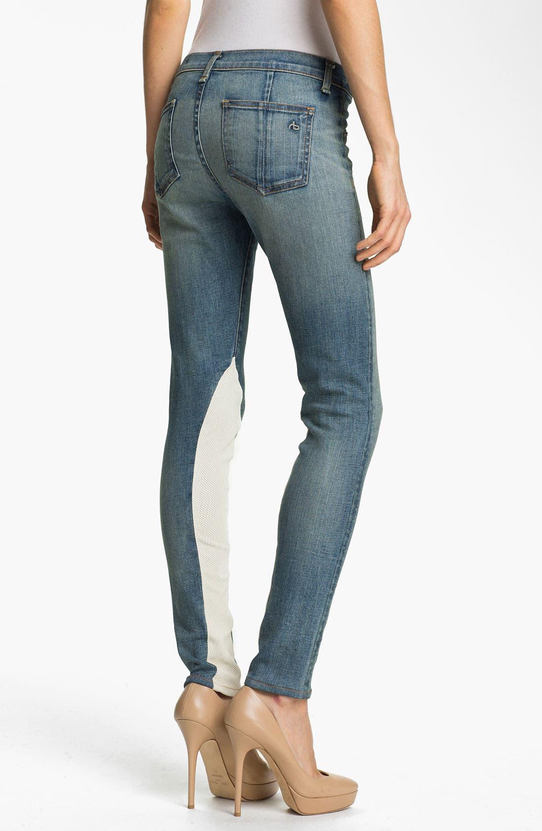 Alternate Image 2  - rag & bone/JEAN Slim Leather & Denim Jeans