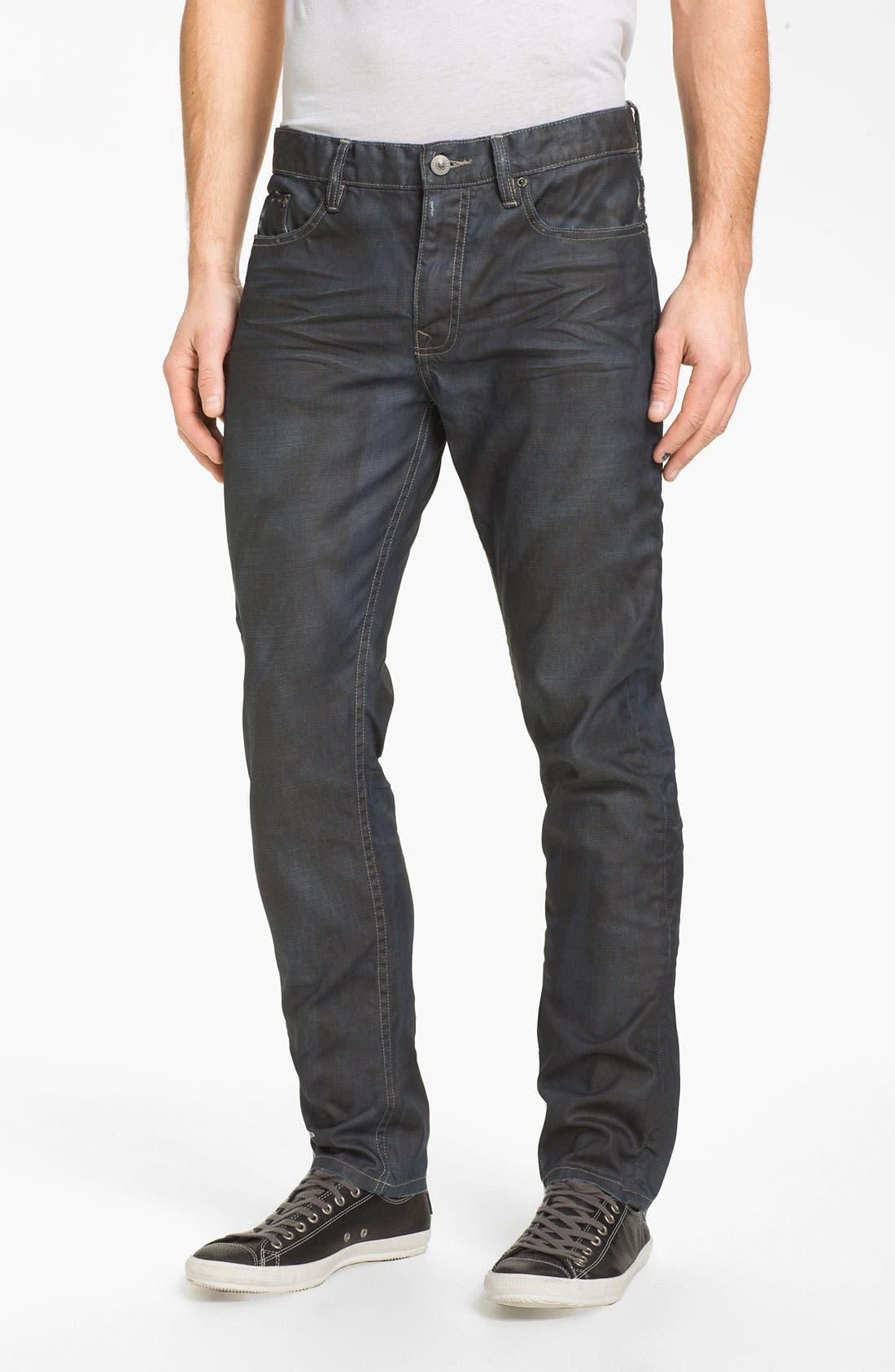 Alternate Image 2  - Denim & Leathers by Andrew Marc Corroded Slim Straight Leg Jeans (Indigo)
