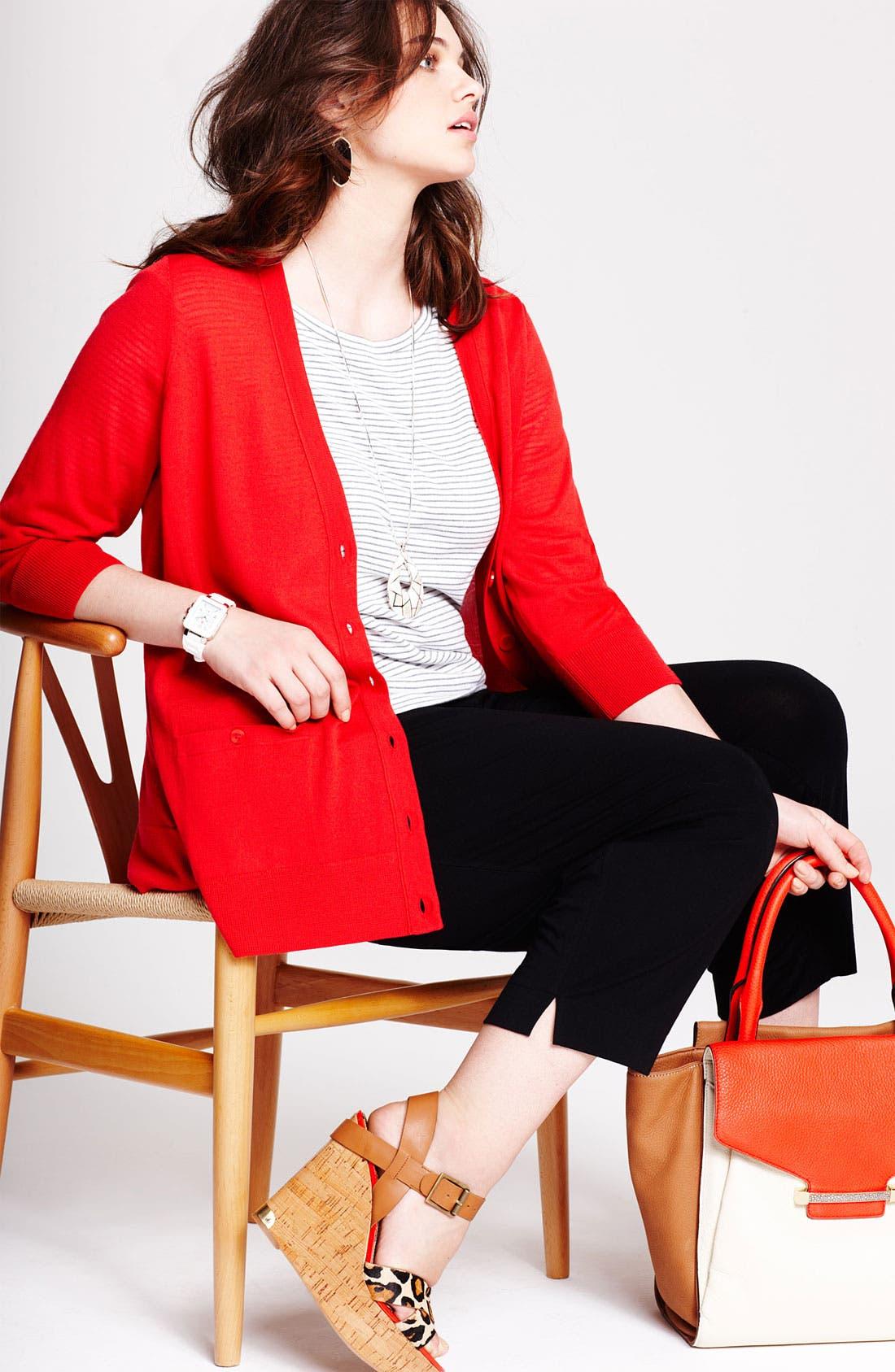 Alternate Image 5  - Sejour Jersey Knit Crop Pants (Plus Size)
