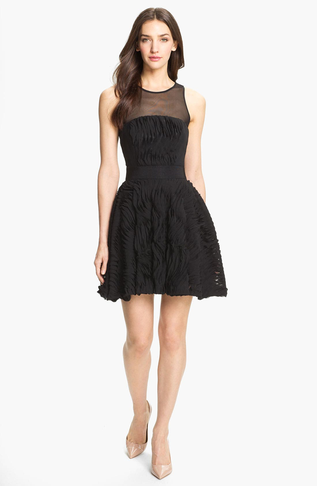 Main Image - Milly Illusion Yoke Fit & Flare Dress