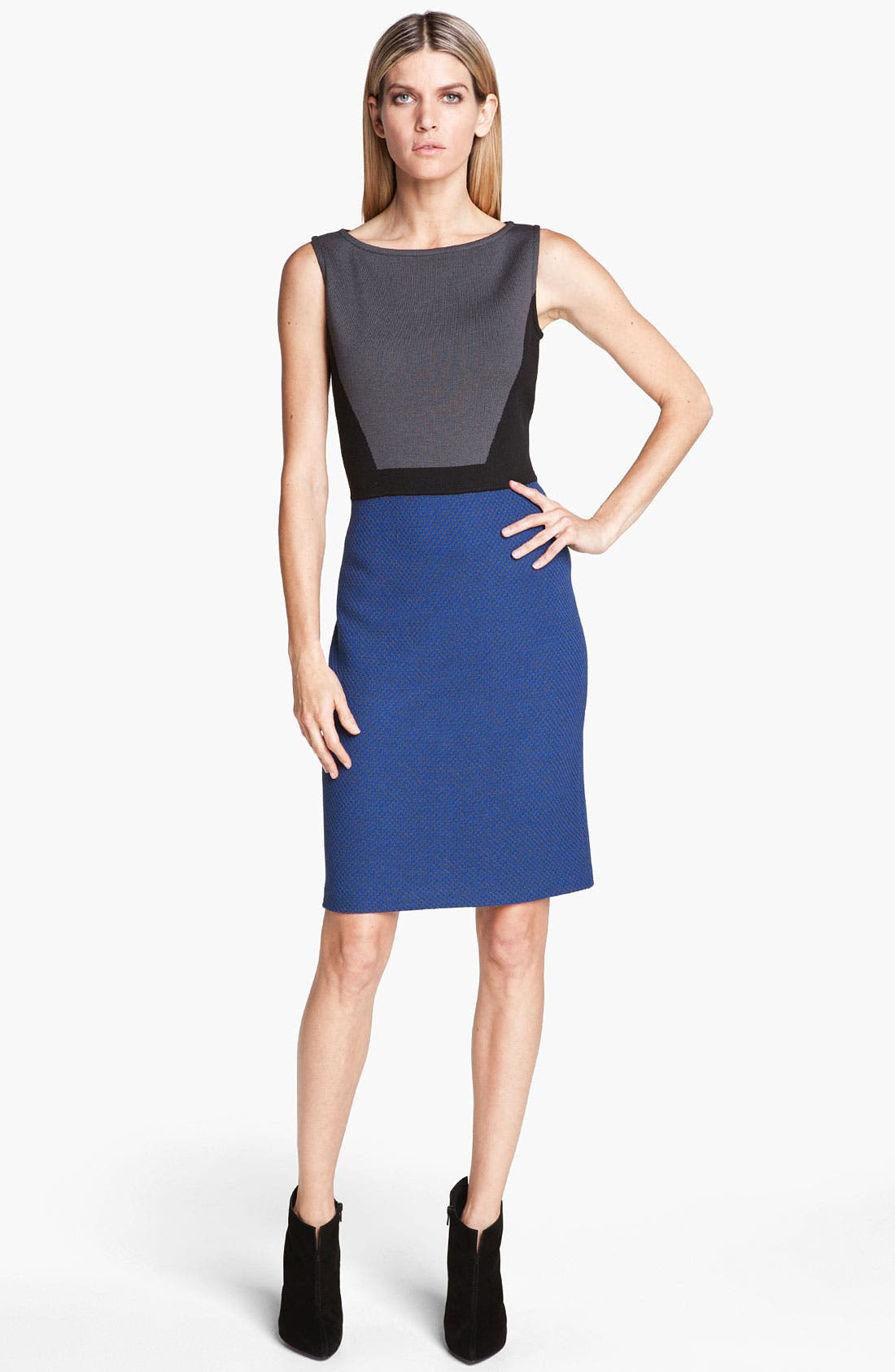 Main Image - St. John Collection Colorblock Milano Knit & Tweed Dress