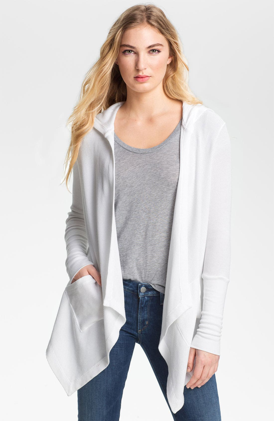 Draped Thermal Hoodie,                         Main,                         color, White