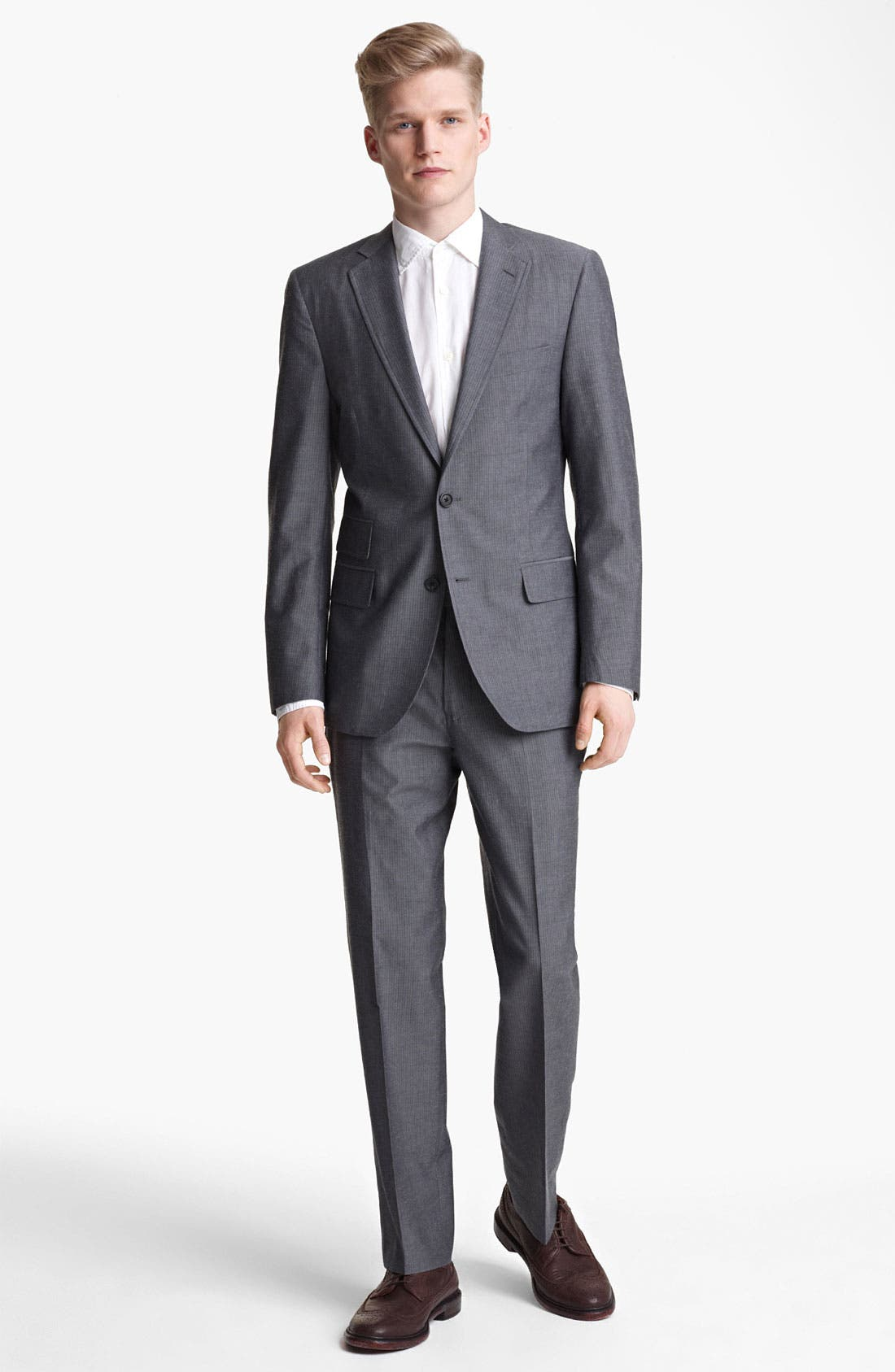 Alternate Image 2  - Billy Reid 'Campbell' Grey Stripe Suit