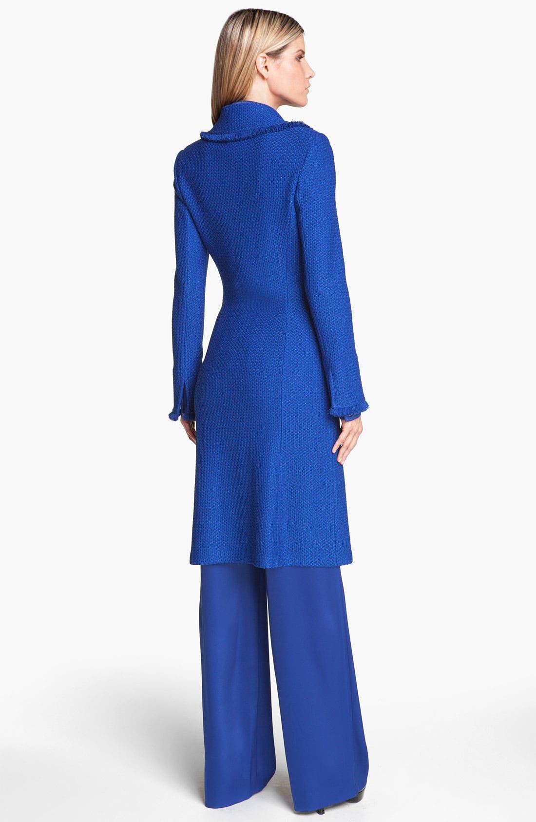 Alternate Image 2  - St. John Collection Long Fringe Trim Tweed Coat