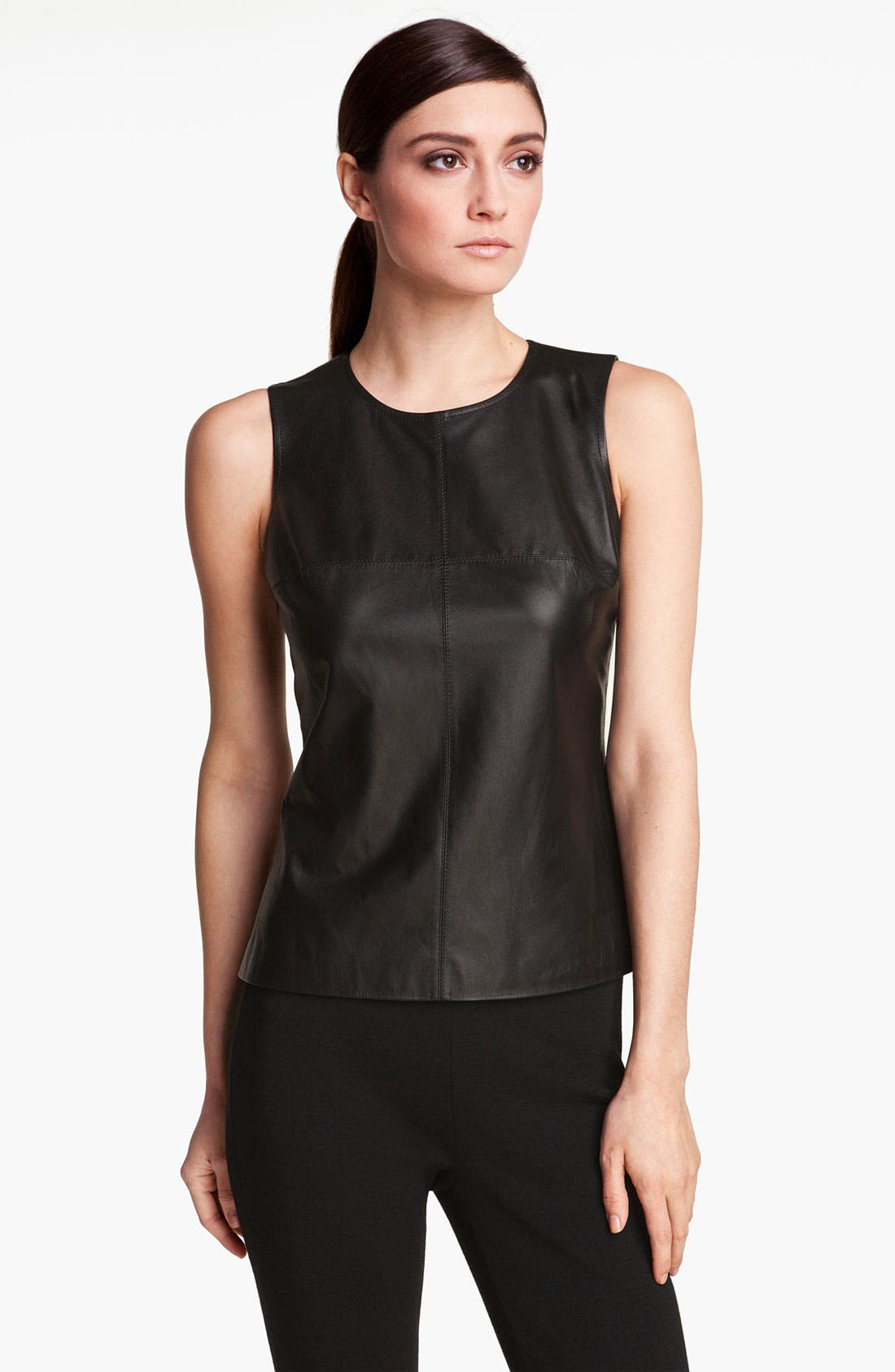 Alternate Image 1 Selected - St. John Collection Nappa Leather & Milano Knit Shell
