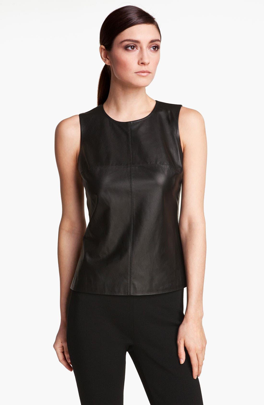 Main Image - St. John Collection Nappa Leather & Milano Knit Shell