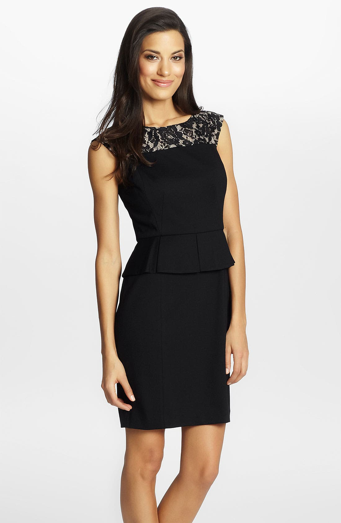 Alternate Image 1 Selected - Cynthia Steffe 'Dylan' Lace Yoke Peplum Sheath Dress