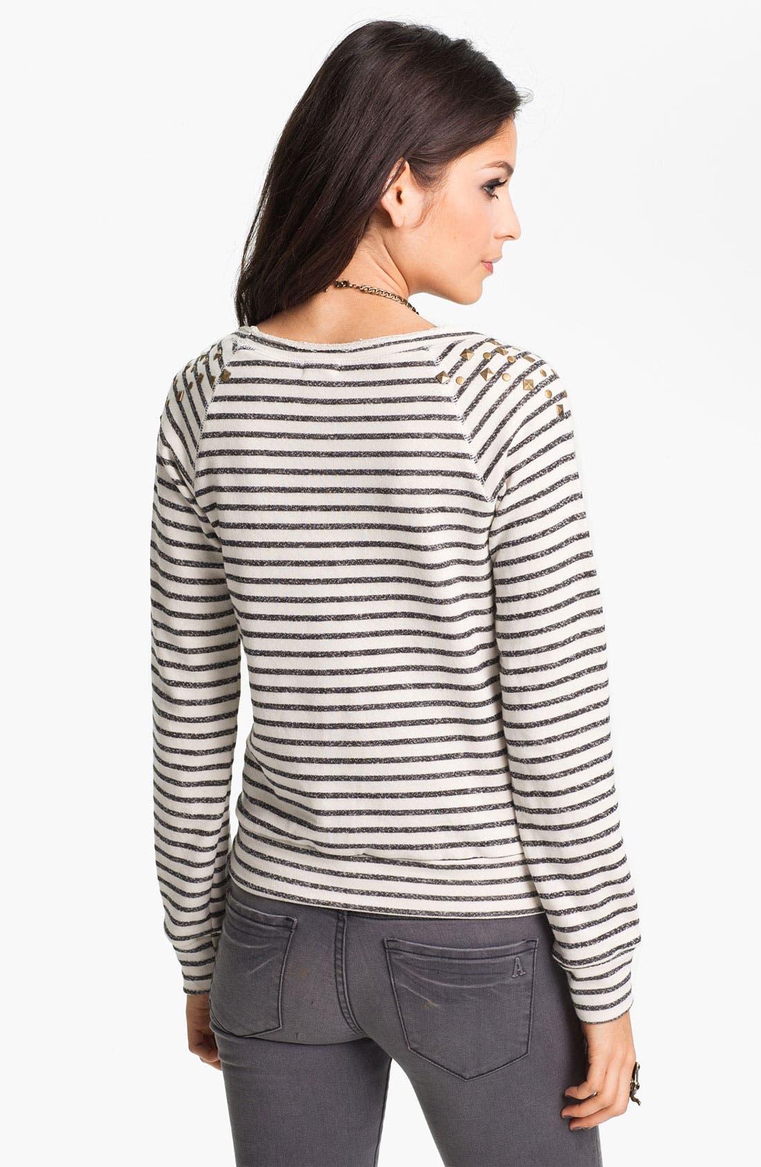 Alternate Image 2  - Ten Sixty Sherman Stud Nautical Stripe Sweatshirt (Juniors)