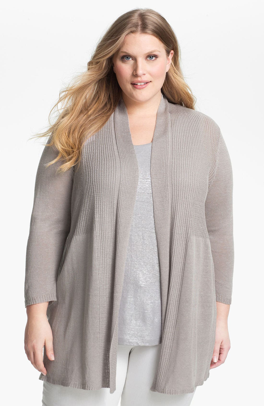Alternate Image 1 Selected - Nic + Zoe Ribbed Cardigan (Plus Size)