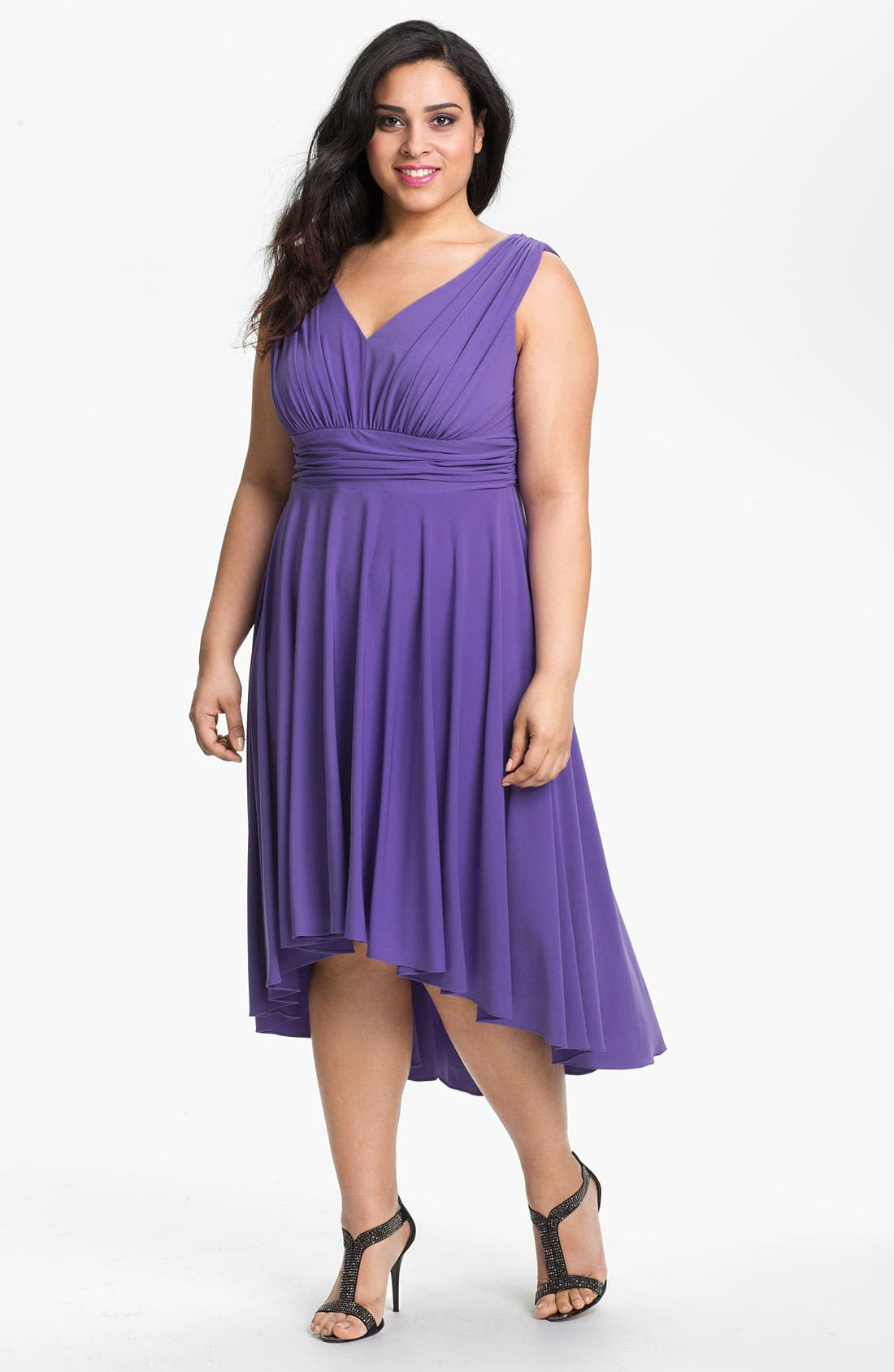Alternate Image 1 Selected - Suzi Chin for Maggy Boutique High/Low Jersey Dress (Plus Size) (Online Only)
