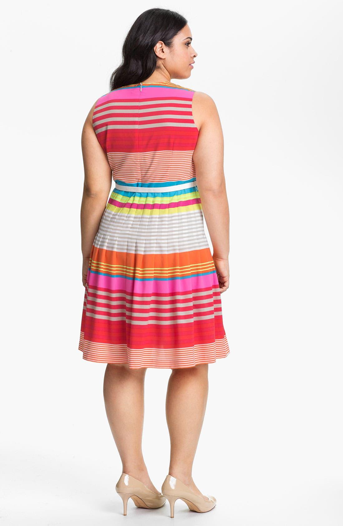 Alternate Image 2  - Calvin Klein Belted Stripe Dress (Plus)