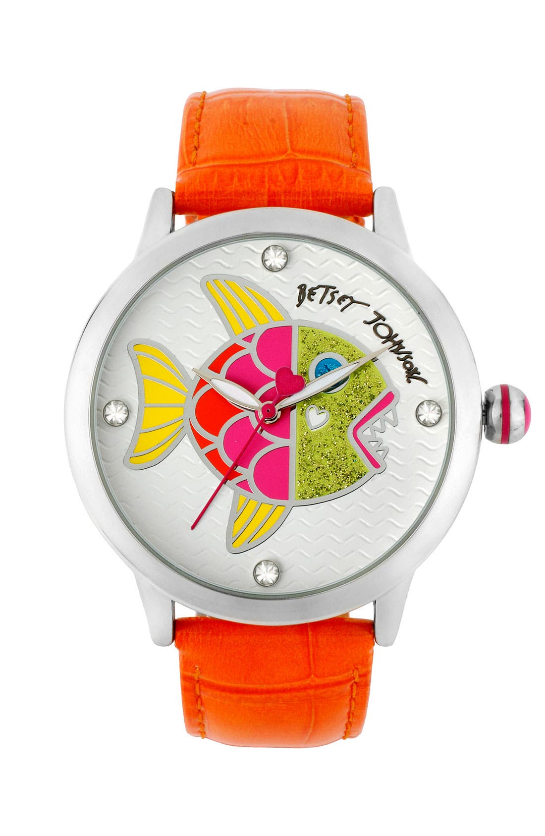 Alternate Image 1 Selected - Betsey Johnson Fish Dial Leather Strap Watch
