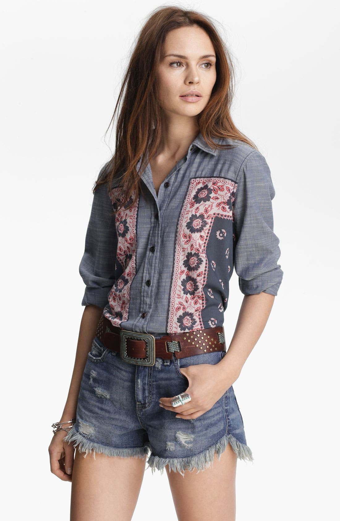 Alternate Image 1 Selected - Free People 'Born Free' Floral Panel Shirt