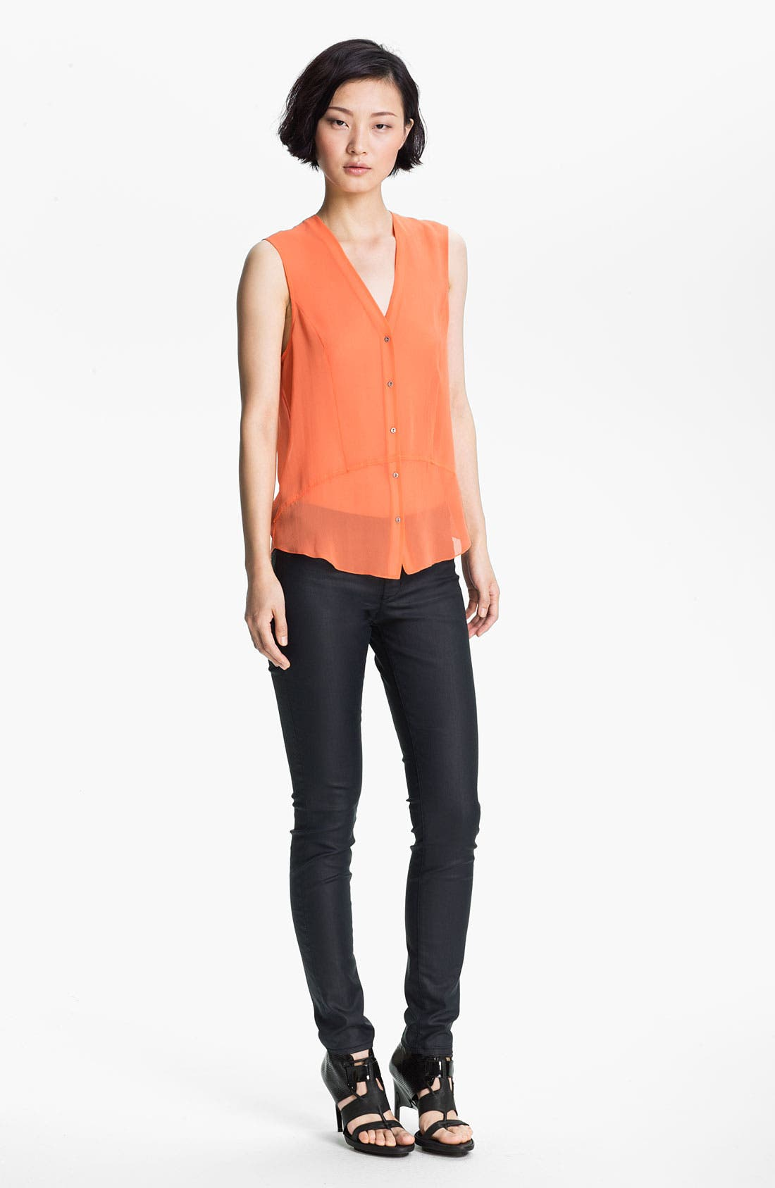 Main Image - HELMUT Helmut Lang 'Ghost Silk' Button Front Top