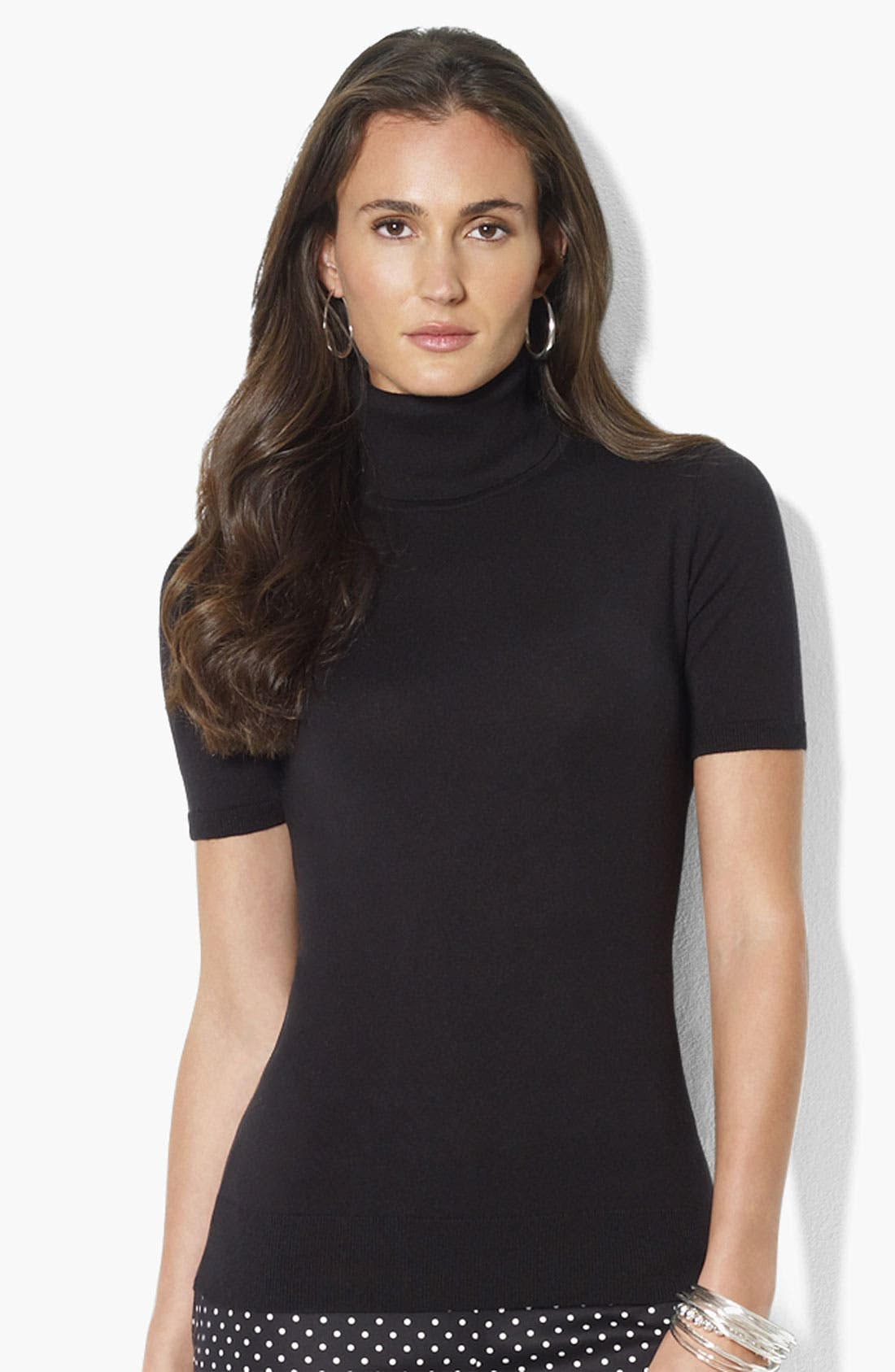 Alternate Image 1 Selected - Lauren Ralph Lauren Short Sleeve Turtleneck Top (Petite) (Online Only)
