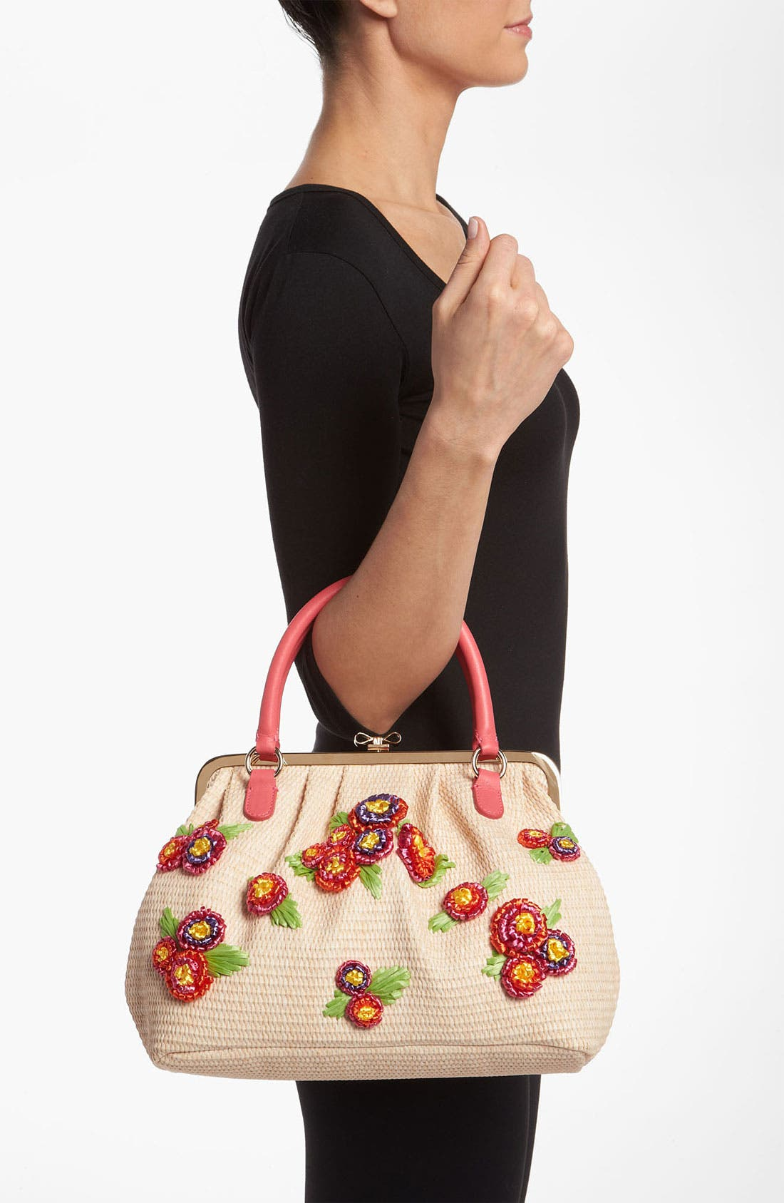 Alternate Image 2  - RED Valentino Embroidered Floral Raffia Handbag