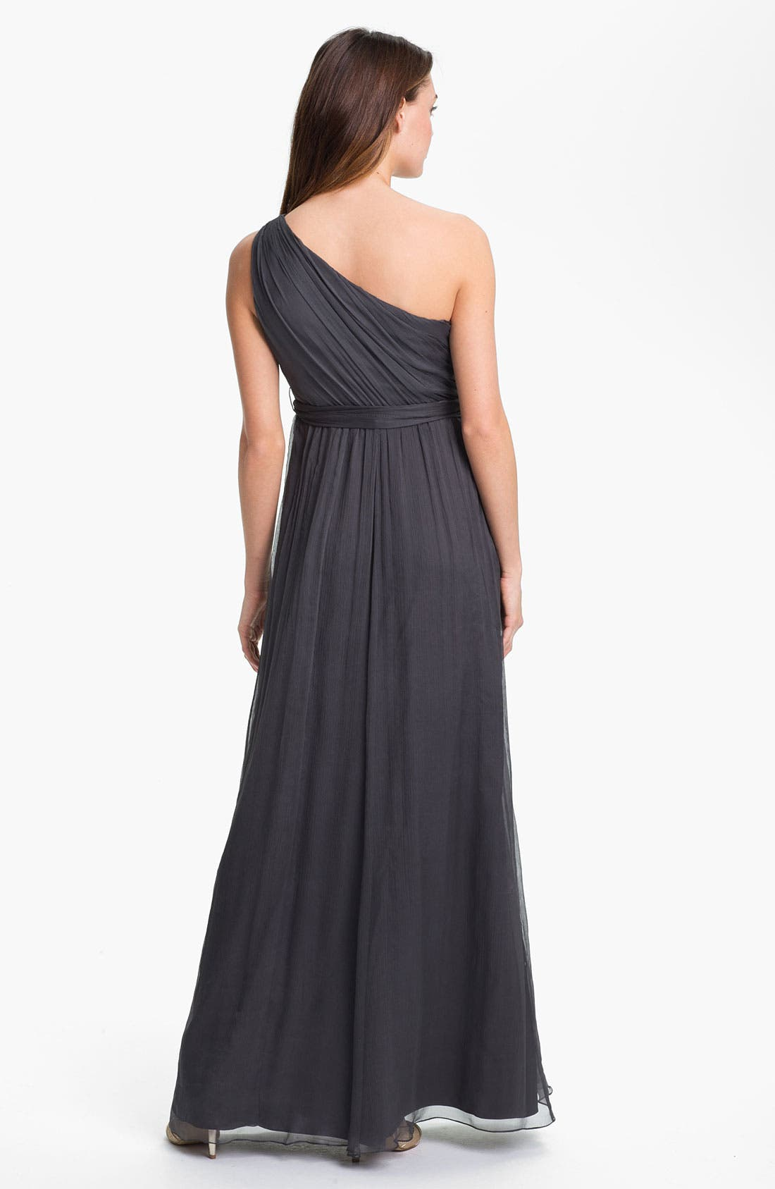 Alternate Image 3  - Amsale One Shoulder Chiffon Gown