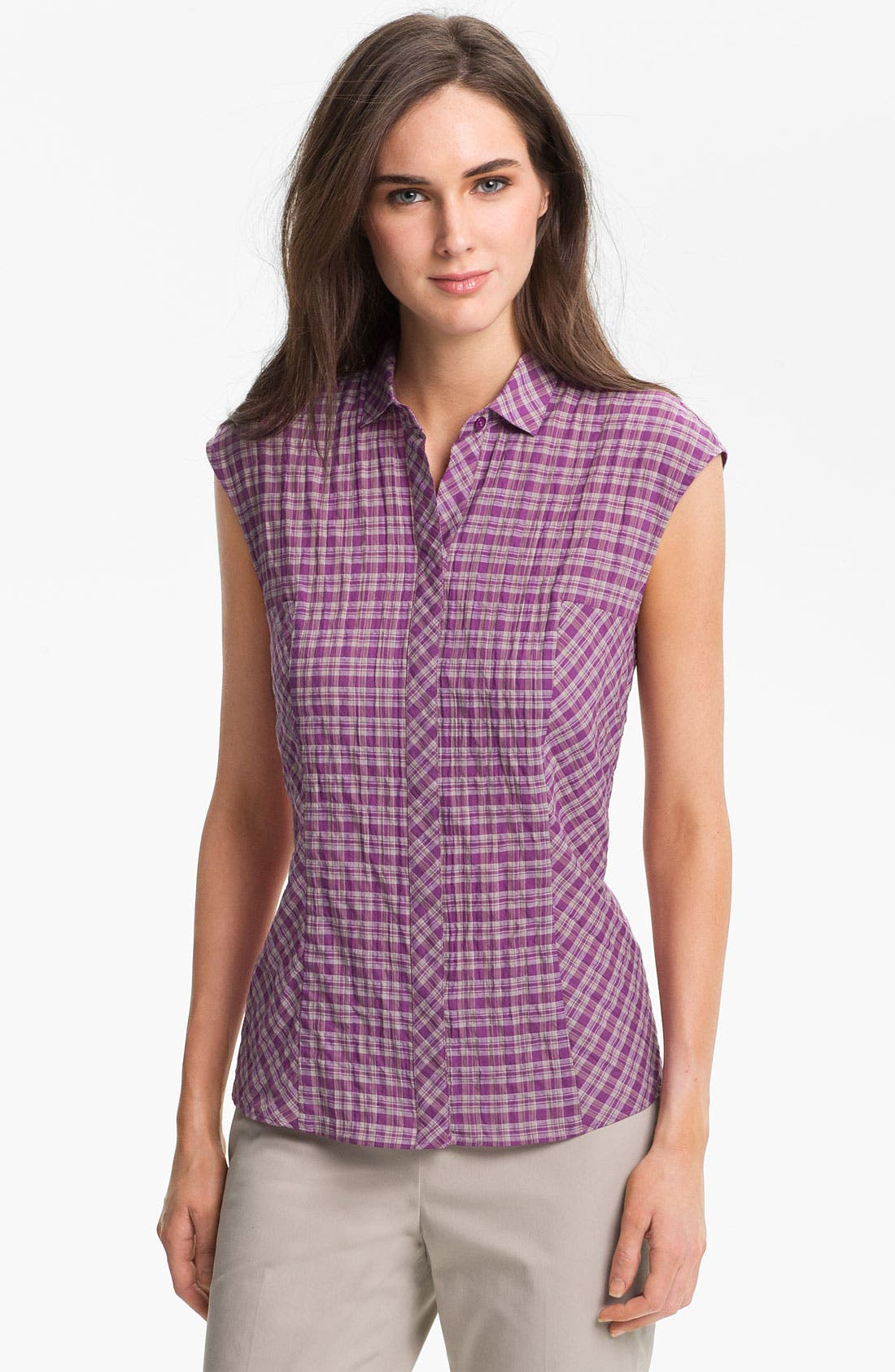 Alternate Image 1 Selected - Lafayette 148 New York Crinkled Plaid Blouse
