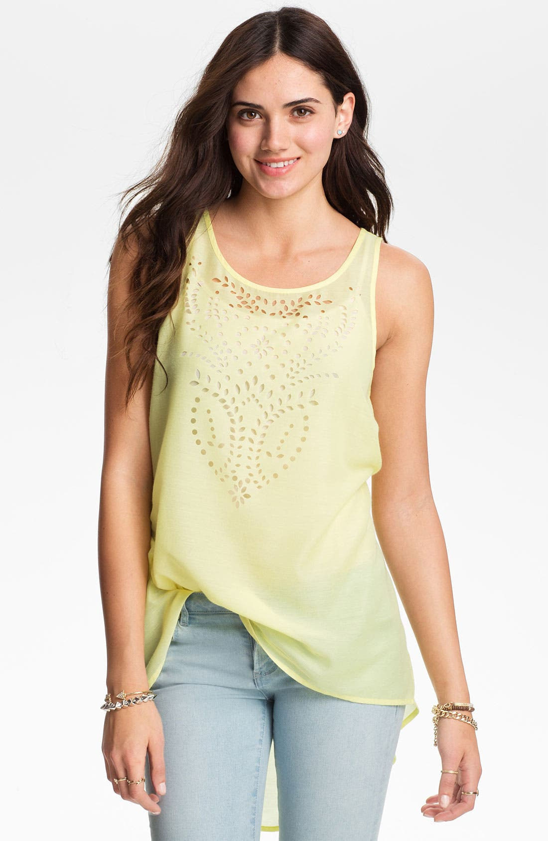 Alternate Image 1 Selected - Frenchi Laser Cut High/Low Tunic Tank (Juniors)