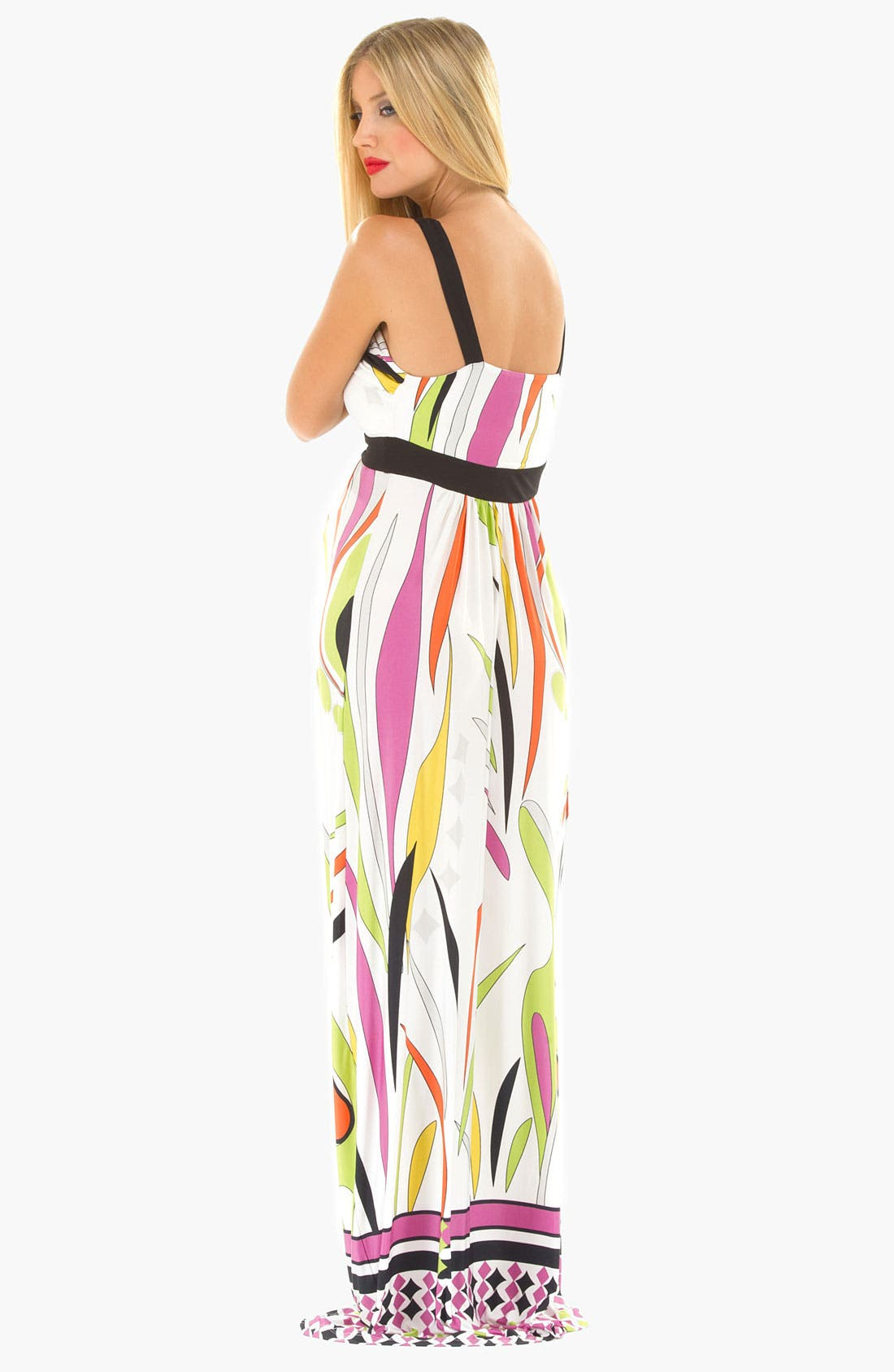 Alternate Image 3  - Olian Maternity Print Maxi Dress