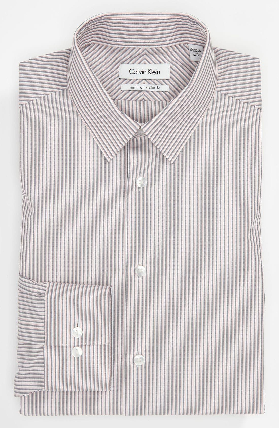 Main Image - Calvin Klein 'South Beach Stripe' Slim Fit Dress Shirt