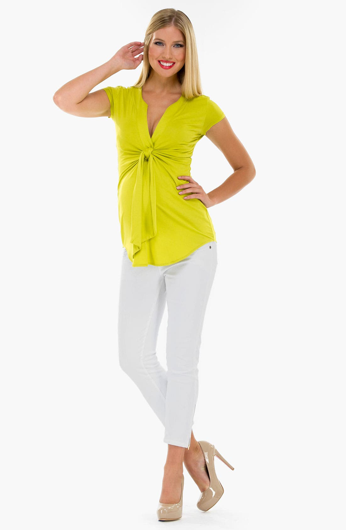 Alternate Image 3  - Olian Knot Front Sleeveless Maternity Top