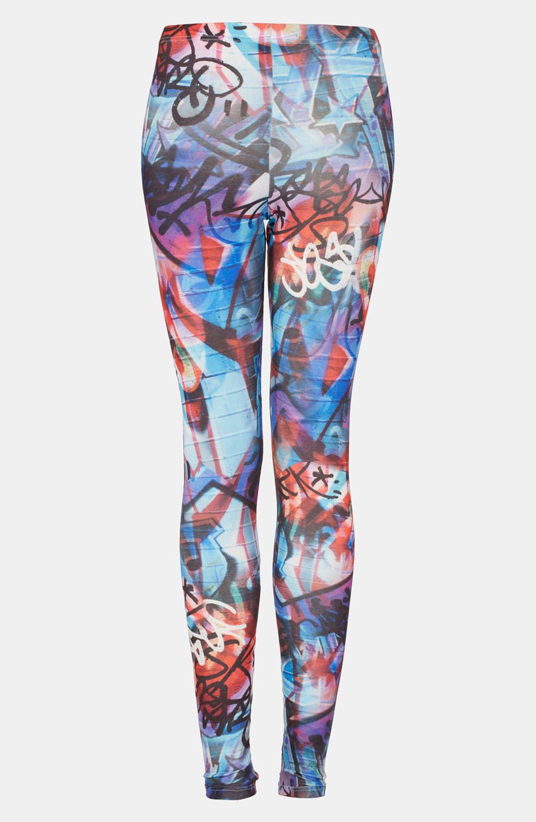 Main Image - Topshop 'Graphic Graffiti' Print Leggings