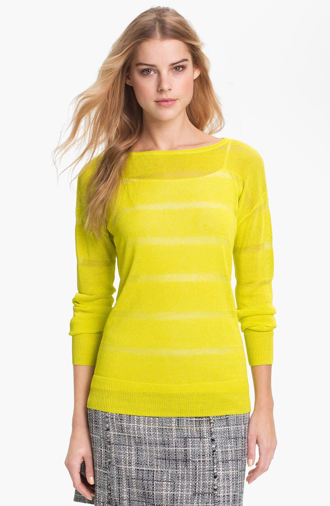 Main Image - Halogen® Sheer Stripe Sweater