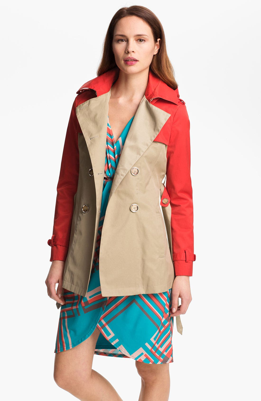 Alternate Image 1 Selected - Steve Madden Colorblock Trench Coat