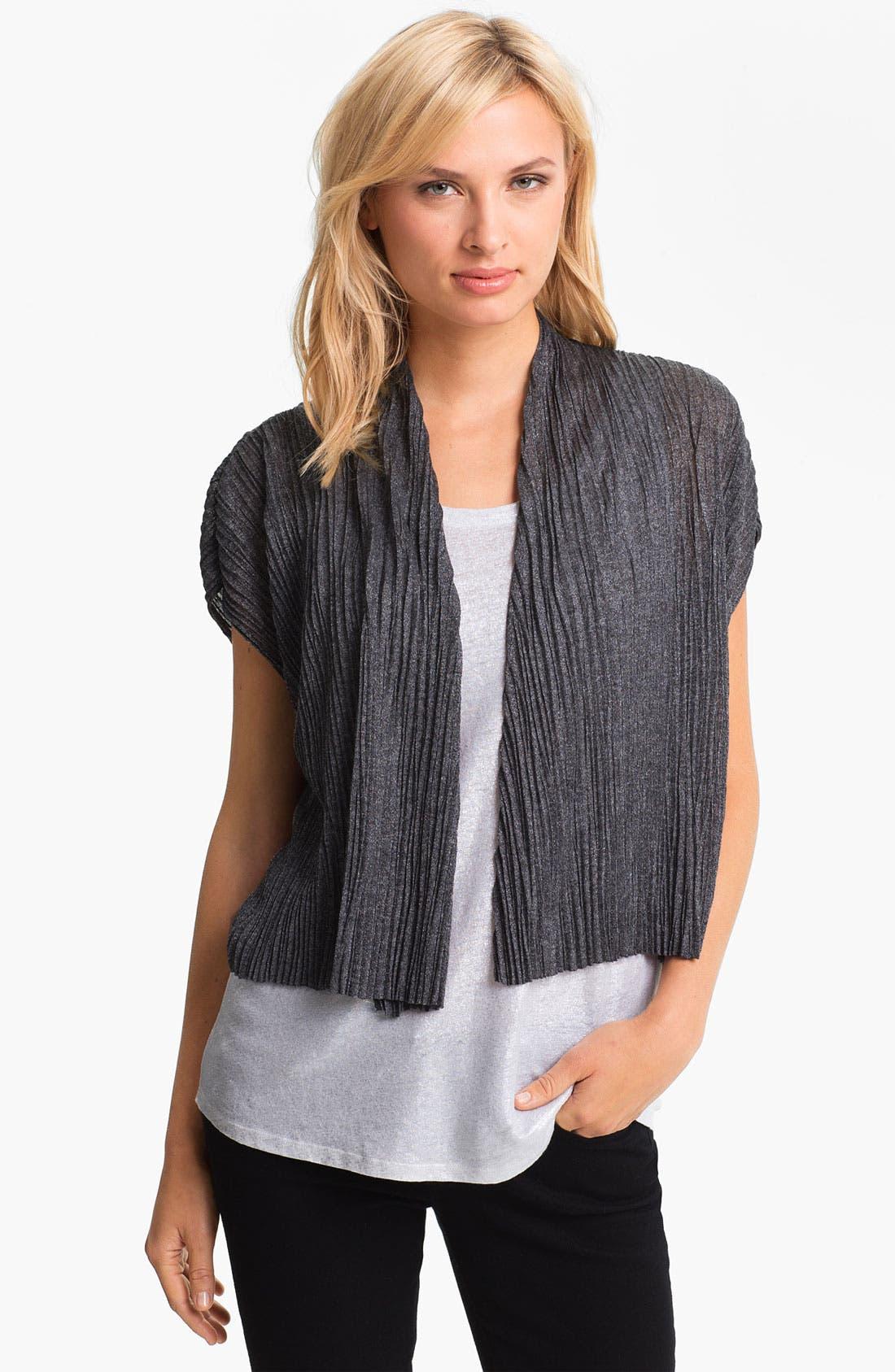 Alternate Image 1 Selected - Eileen Fisher Crinkled Short Sleeve Cardigan (Petite)