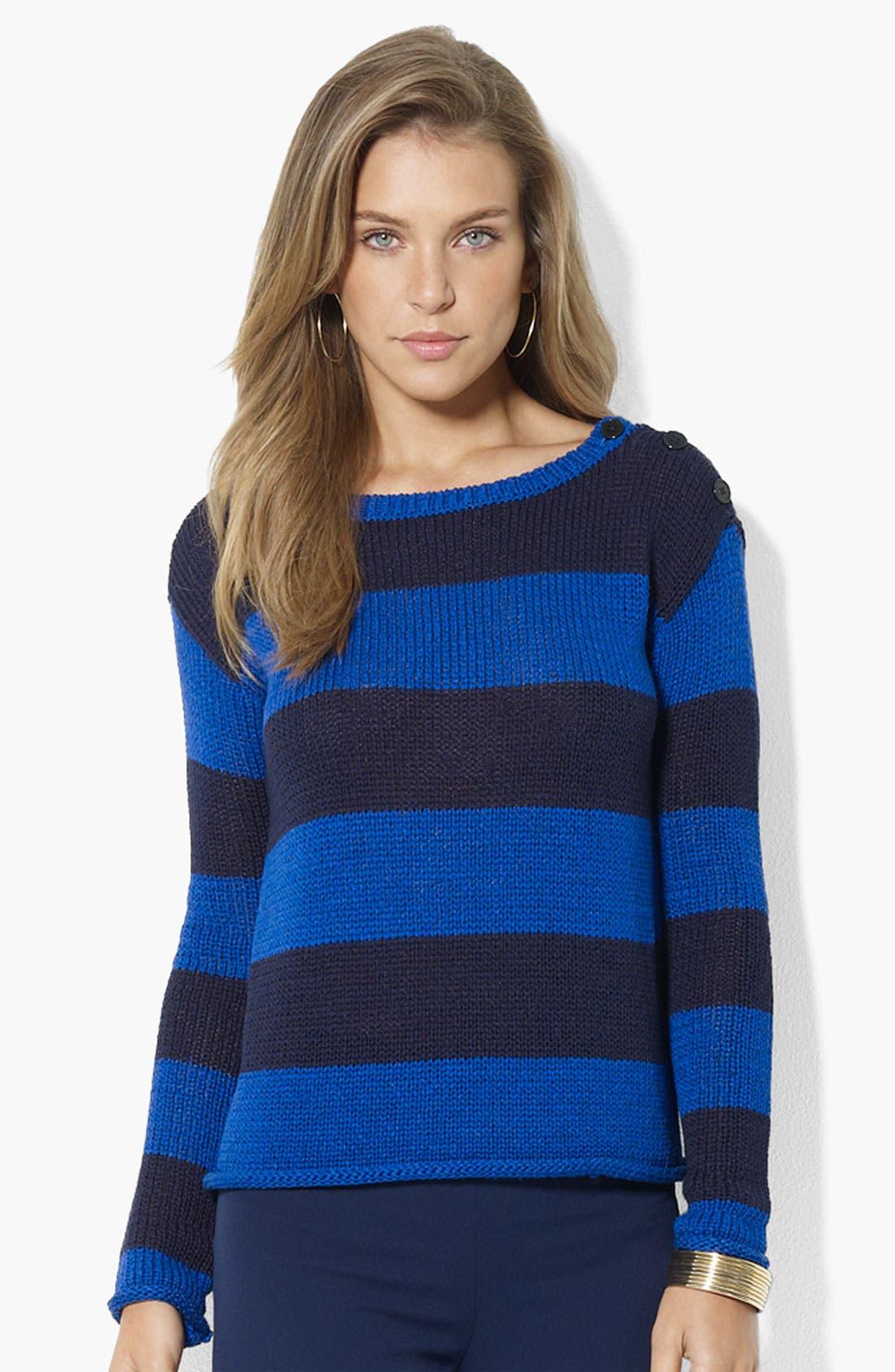 Main Image - Lauren Ralph Lauren Button Shoulder Stripe Sweater (Petite) (Online Only)