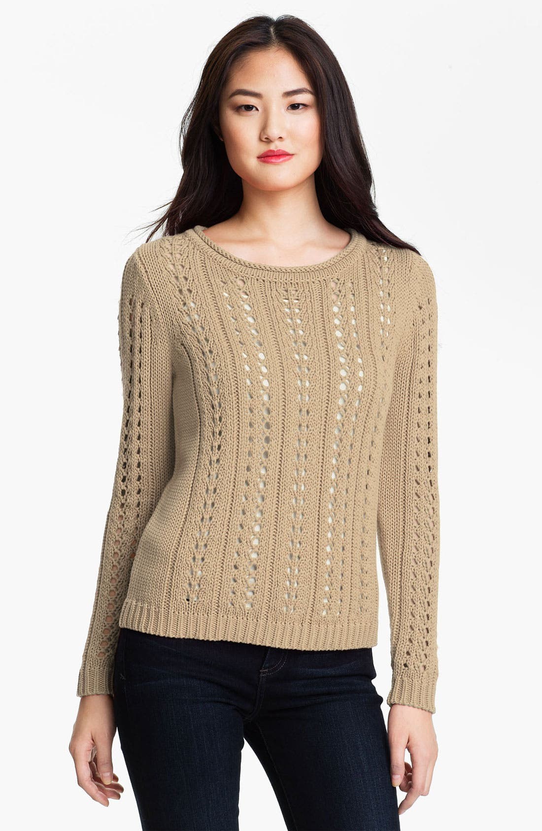 Main Image - Vince Camuto Cable Pointelle Sweater (Petite)