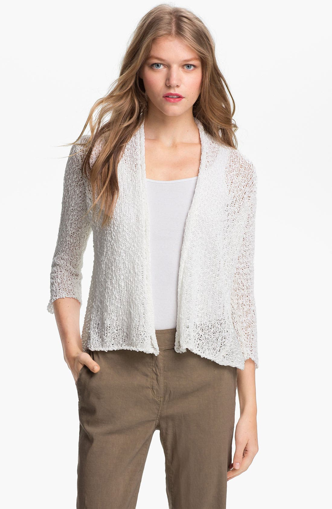 Alternate Image 1 Selected - Eileen Fisher Open Stitch Cardigan