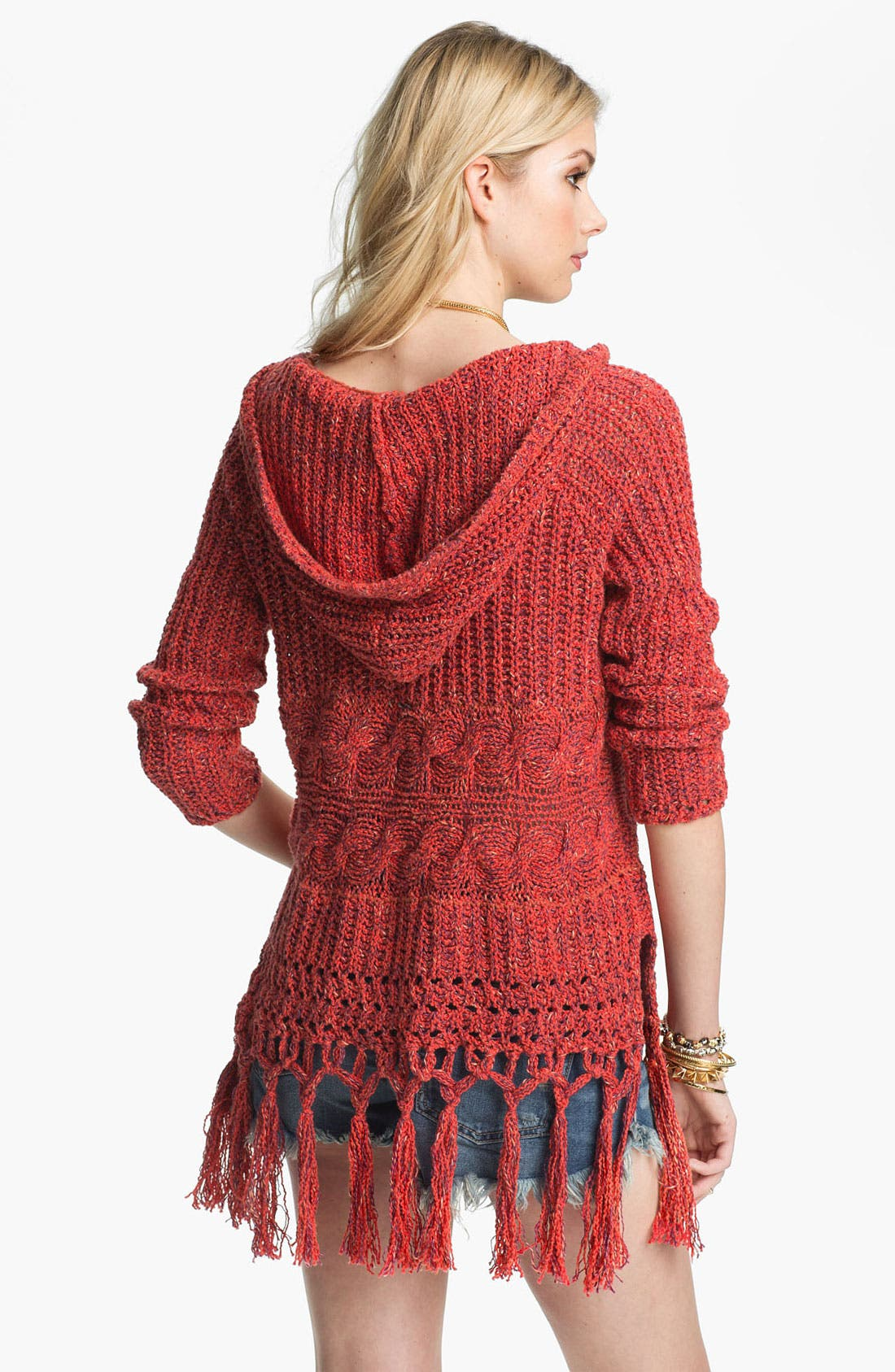 Alternate Image 2  - Free People 'Santa Rosa' Fringe Trim Hooded Sweater