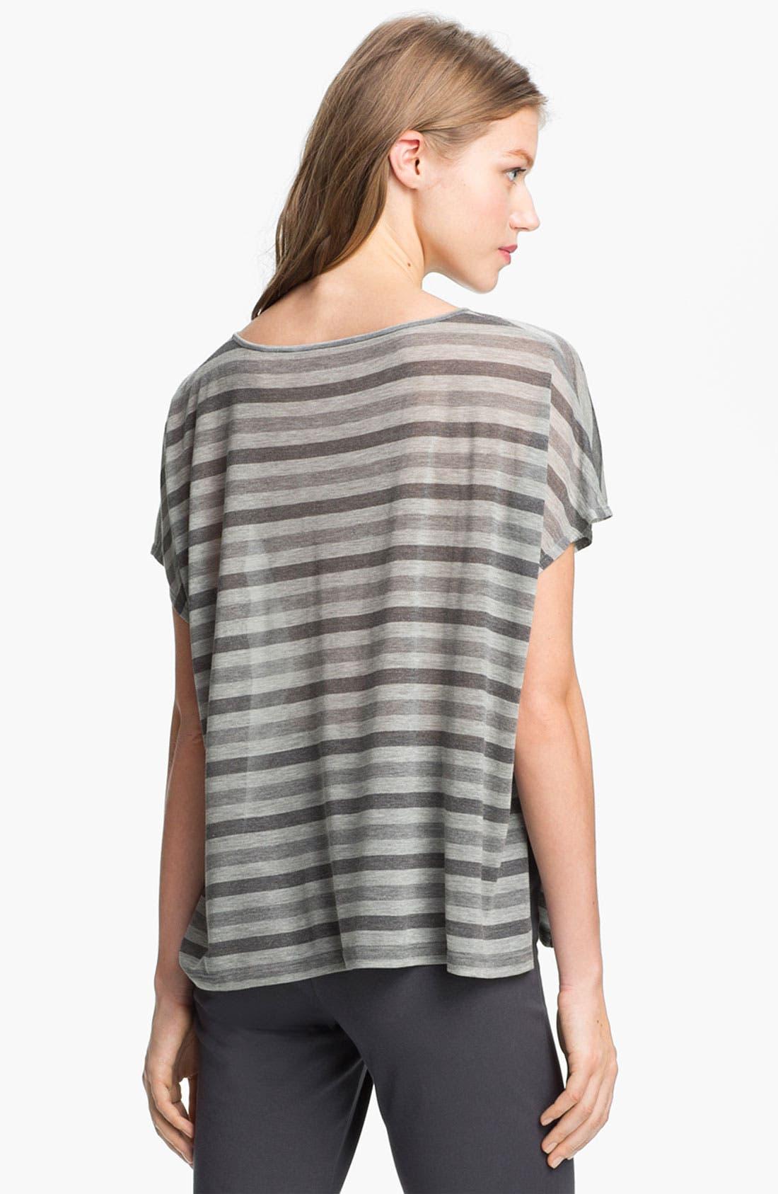 Alternate Image 5  - Eileen Fisher Scoop Neck Stripe Top